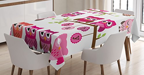 Ambesonne Nursery Tablecloth, Girl Baby Shower Themed Owls and Branches Adorable Cartoon Animal Characters, Dining Room Kitchen Rectangular Table Cover, 60 W X 84 L inches, Purple Pink Brown by Ambesonne