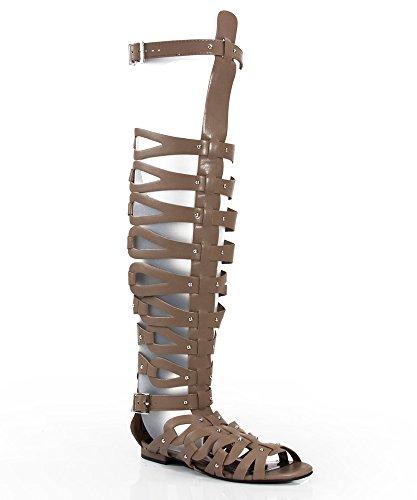 Breckelle Vegan Leatherette Strappy Open Toe Gladiator Sandals NATURAL PU (9)