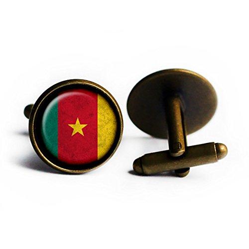 African Nation Cameroon Flag Antique Bronze Cufflinks