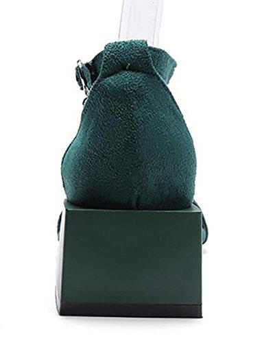 SYYAN Femmes Suède Pierres De Strass Ouverture Du Pied Fait main Talon carré Des sandales Noir Jaune vert , green , 39