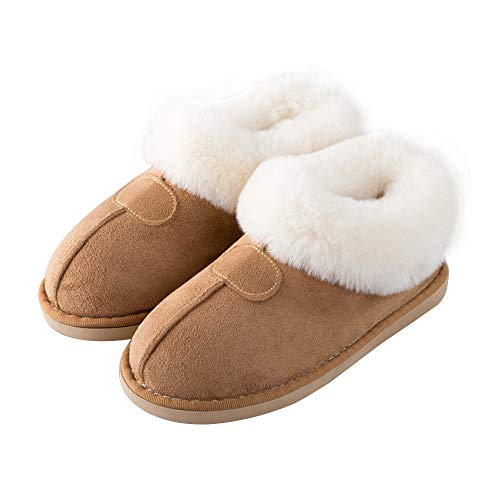 Booties Garatia Camel Faux Anti Lined Breathable Slipper House skid Fur Suede Waterproof Oq4gOTr