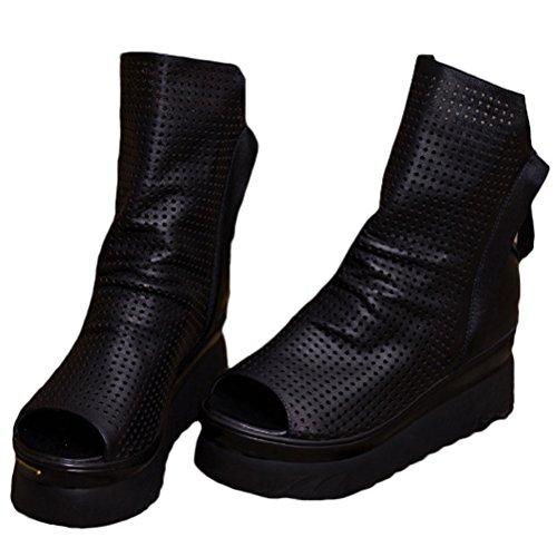 Vogstyle Femme Vintage Boot Guipure à Plates en Cuir