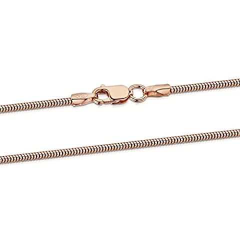 14K Rose Gold Plated on 925 Sterling Silver 1.4 mm Snake Chain Necklace Length 16