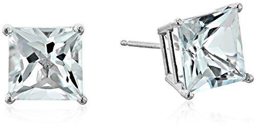 10K White Gold Princess cut Aquamarine Stud Earrings, (7mm)