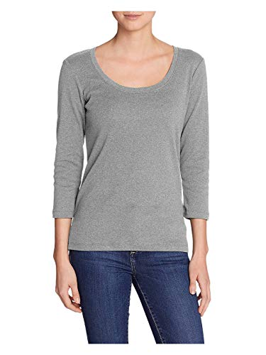 Eddie Bauer Women's Favorite 3/4-Sleeve Scoop-Neck T-Shirt, HTR Ash Regular XL -