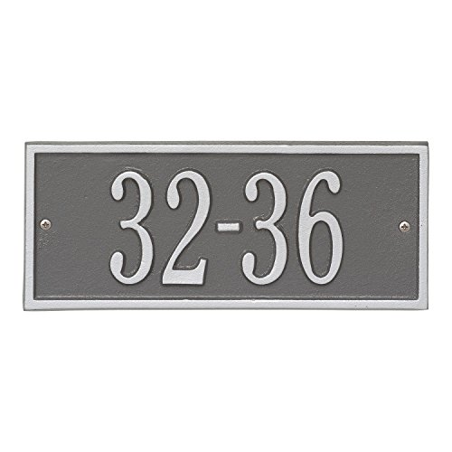 Whitehall Personalized Cast Metal Address Plaque - Small Hartford Custom House Number Sign - 10.5'' x 4.25'' - Allows Special Characters - Pewter/Silver by Whitehall (Image #3)