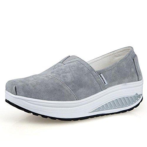 SHINIK Zapatos de mujer New Spring Fall Fitness Zapatos Shake Grueso Inferior Atlético Zapatos para correr casuales Zapatos de cuero Shaking Transpirable UN