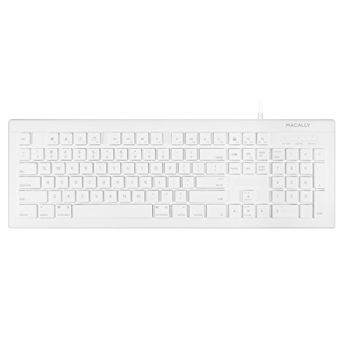 Macally Wired USB-C Keyboard for Apple Macbook Pro 2017 / 2016, Macbook 12
