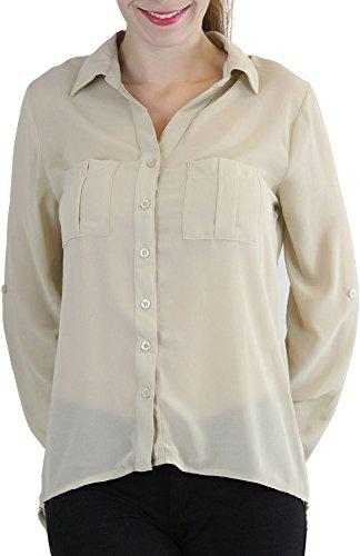 ToBeInStyle Women's Lightweight Button-Down Shirt with Decorative Pockets - Beige - L - Decorative Pockets