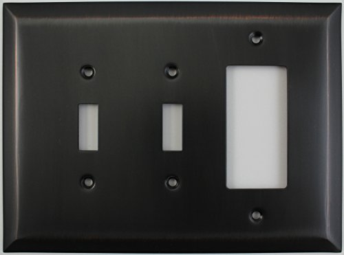 Jumbo Stamped Oil Rubbed Bronze Three Gang Combo Wall Plate - Two Toggle Light Switches One GFI/Rocker Outlet (Renovation Plate Cover)