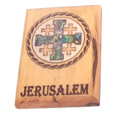 Pearl Cross Ornament (Jerusalem Cross Magnet - Olive wood (6x4 cm or 2.4x1.6 inches) - with Mother of Pearls inlay / Certificate included)