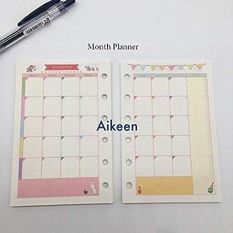 Amazon.com: Planificador 2018 Nueva espiral A5 A6 hojas ...