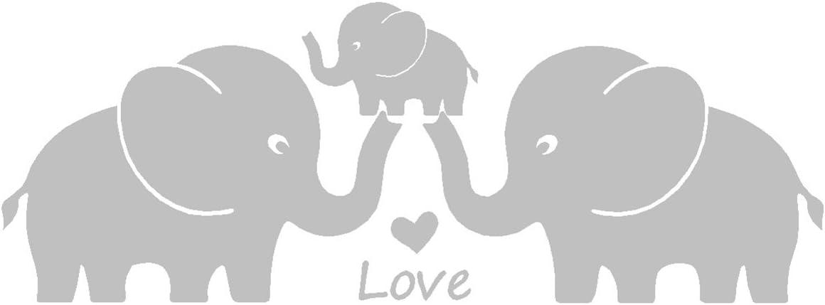 Tres lindos elefantes padres y ni/ño familia Wall Decal corazones del amor familia palabras bebe elefante vinilo pegatinas de pared para la decoracion de la habitacion del cuarto de ni/ños del bebe gra