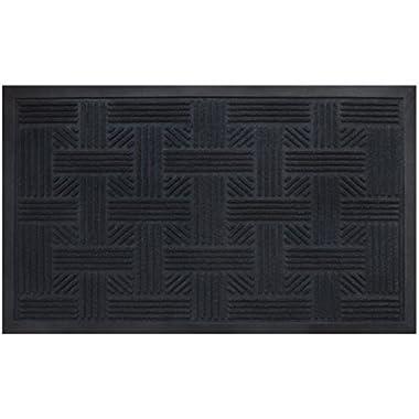 Alpine Neighbor Doormat | Low Profile Outdoor Black Door Mat | Washable Cross-Hatch Outdoor Rubber Front Entrance Floor Shoes Rug | Garage Entry Carpet Decor for House Patio Grass Water