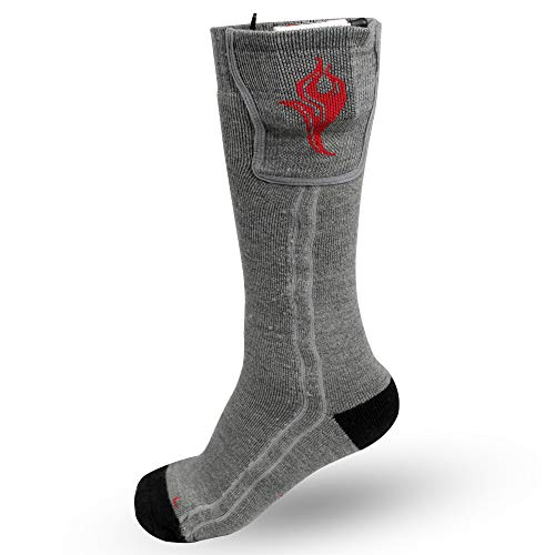 Heated Wool Socks, Electric Running, Hiking, and Hunting Socks for Men and Women (SMALL, GREY)