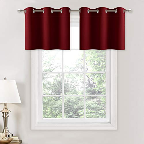 NICETOWN Blackout Valances for Small Window - Pair of Thermal Insulated Eyelet Top Plain Blackout Tier Curtains for Christmas & Thanksgiving Day (29 Width x 18 Length + 1.2 inches Header, Burgundy)