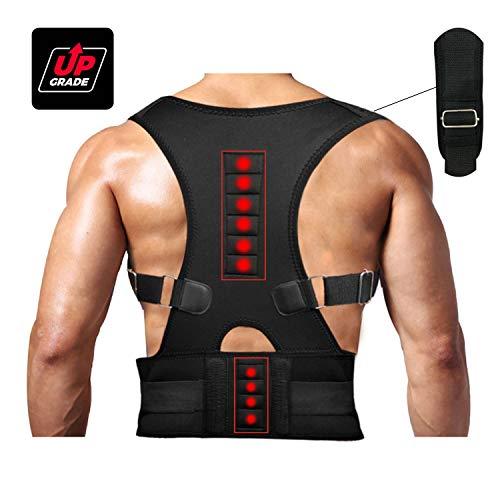 Magnetic Therapy Posture Support Back Brace -FDA Approved Medical Grade Adjustable Posture Corrector Brace Shoulder Back Support Belt- Relieves Neck, Back and Spine Pain (M)