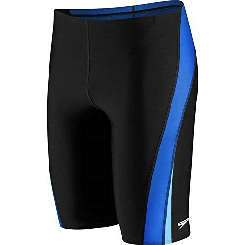 Speedo Men and Boys' Endurance+ Launch Splice Jammer Swimsuit, Black/Blue, 32