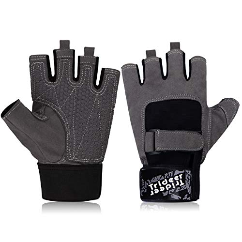 Trideer Ultralight Workout Gym Gloves, Light Microfiber & Anti-Slip Silica Gel Grip Glove for Weight Lifting, Training, Fitness, Bodybuilding and Exercise Men & Women (Grey, M (Fits 7.1-7.9 Inches))