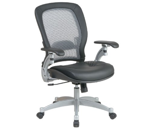(Light Air Grid Chair with Leather Seat and Platinum)