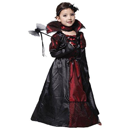 Halloween Costumes Children Girls Vampire Prinecess Cosplay Party Carnival Lace Long Dress Performance Uniform (Costum Vampir De Halloween)