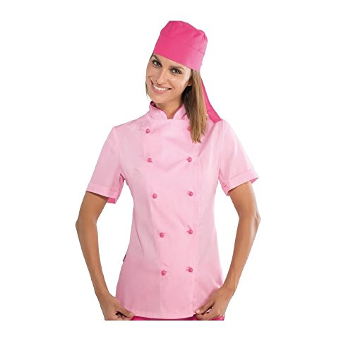 S 26034 Giacca Lunga m² Cotone Isacco Gr Antipanico 100 Chef Lady Rosa Bottoni Bianco Manica 190 Tessuto UHnqqAId