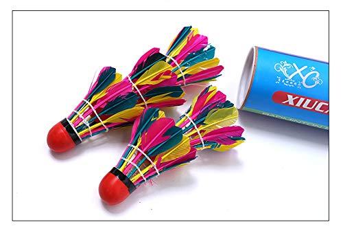 VIWIV Rojo Cuero Color bádminton Resistente a la Estabilidad Bola de Plumas de Ganso para al Aire Libre Padre-niño Entrenamiento Deportes Entrenamiento al Aire Libre Club, etc. por VIWIV