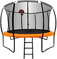 JustFly Trampoline 10FT 12FT 14FT with Top Ring Enclosure Net, Outdoor Basketball Hoop and Ladder for Kids and