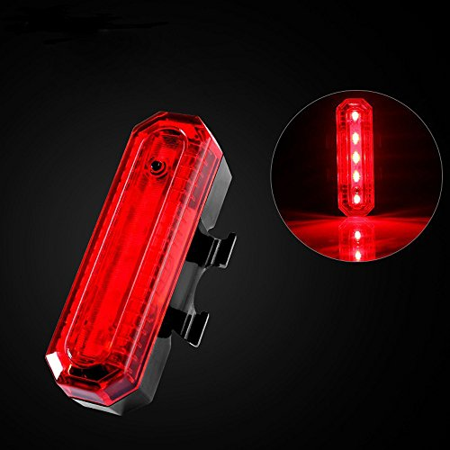 Glumes Sport Rear Bike Light USB Rechargeable|Ultra Bright Powerful Safety Taillight|High Intensity Rear LED Accessories|5 LED|4 Light Mode Options|Waterproof|for all Bikes/Helmets (red) ()