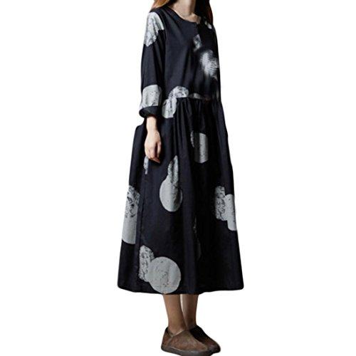 Joint Women Boho Dress Casual Maxi Dresses Vintage Loose Long Sleeve Line Dress Plus Size Cotton Party Cocktail Dress (XX-Large, Black) by Joint Women Dress
