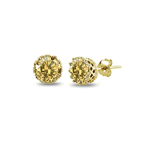 Yellow Gold Flashed Sterling Silver Citrine Crown Stud Earrings
