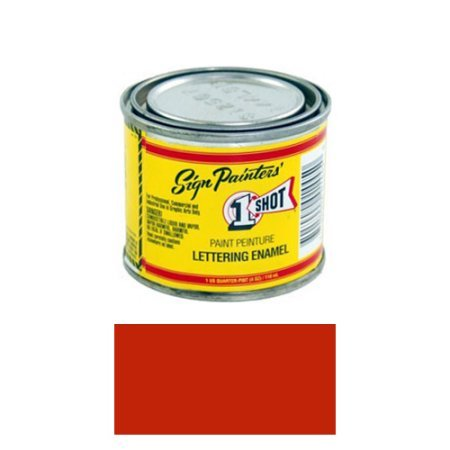 One Shot Lettering Enamel - 1/4 Pint 1 Shot Bright RED Paint Lettering Enamel Pinstriping & Graphic Art