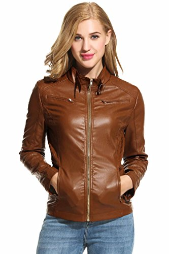 HOTOUCH Womens Soft Leather Biker Jacket Coffee M