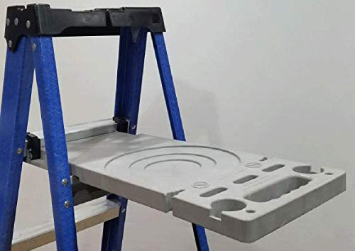 Ladder Shelf Systems -Heavy Duty -Multifunctional -Time saving - Professional Grade molded plastic pail shelf - attaches to most Warner, Louisville, and Keller brand single sided A-frame step ladders by Ladder Shelf Systems