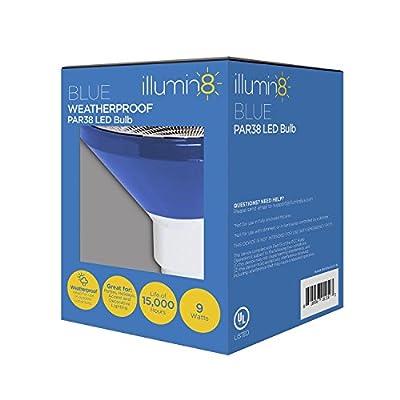 LED PAR38 9W 75W Equal Blue Light Bulb 40 Deg. Flood Wet Location Illumin8 IPAR38-DECO-BL
