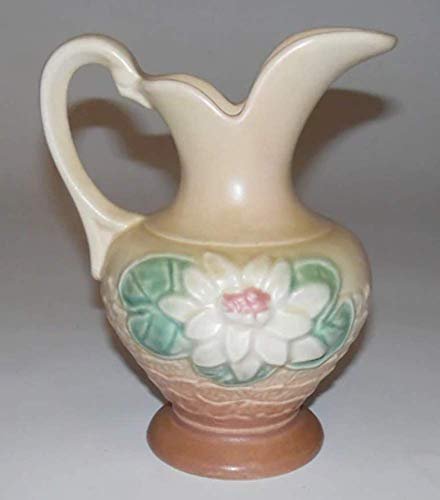 (Vintage Hull Water Lily Flower Art Pottery Ewer Vase L-3-5 1/2)