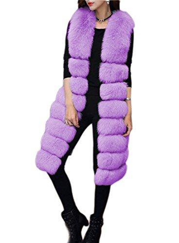 Caldo Cappotto Womens Inverno ' Purple Folobe Vest Pelliccia Stile Lungo Di Faux qwTSntx
