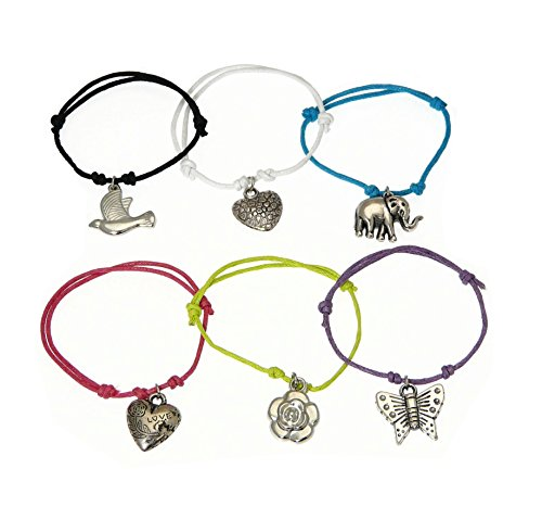 Set of 6 Childrens Bright Colored Cord Bracelets With Assorted Charms - (Cord Colors May Vary)