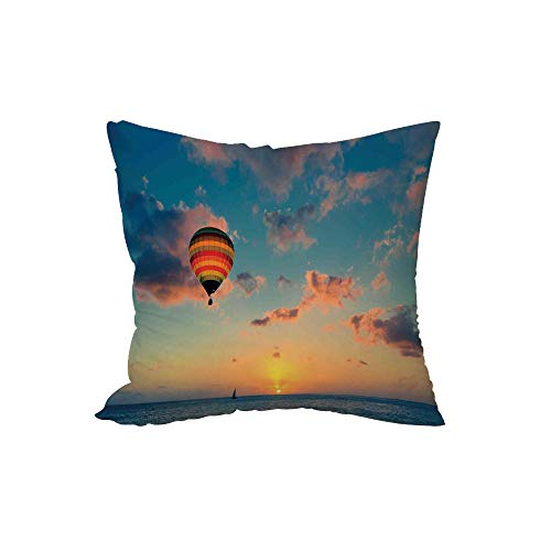 iPrint Polyester Throw Pillow Cushion,Sunset,Hot Air Balloon on Skyline with Horizon at Sea Background Relax Adventure Scenery,Blue Yellow,17.7x17.7Inches,for Sofa Bedroom Car -