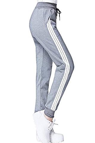 Womens Drawstring Cuffed Pocket Jogger Sweatpants Yoga Pants L Light Grey