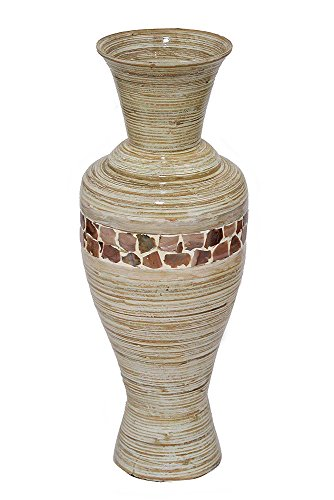 Heather Ann Creations Vineyard Collection Decorative Handcrafted Decanter Shaped Bamboo Vase with A Mother of Pearl Band, Distressed White Finish by Heather Ann Creations