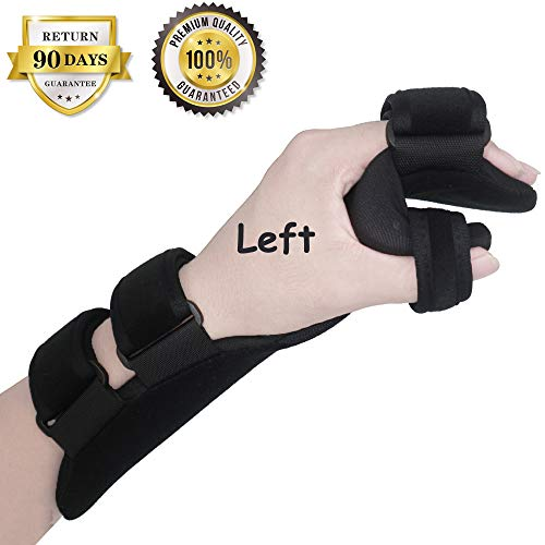Soft Resting Hand Splint Night Wrist Splint Support Immobilizer Finger Wrist Fracture Fixation Scaffold for Pain Tendinitis Sprain Fracture Arthritis Dislocation (Large, Left)
