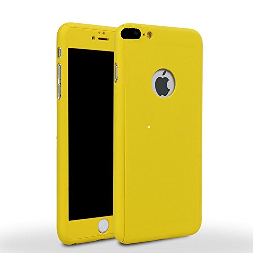 (iPhone 7 Plus 5.5 Inch Full Body Hard Case-Auroralove Yellow 360 Degree Full Protective Slim Sleek Front Back Case for iPhone 7 Plus 5.5 Inch with Tempered Glass Screen Protector)