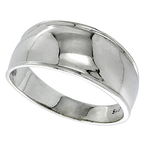 Sterling Silver Dome Cigar Band Ring for Women 5/16 inch size (Sterling Silver Cigar Band Ring)