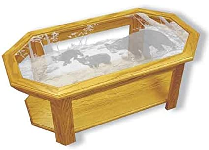 Oak Glass Top Coffee Table With Black Bear Etched Glass   Black Bear Coffee  Table Furniture