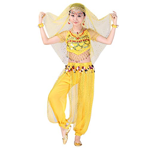 Kids Girls Belly Dance Set Halter Top Harem Pants Costume Set Halloween Outfit with Head Veil Waist Chain and Bracelets -