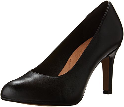 Clarks Women's Heavenly Star Dress Pump, Black Leather, 8 W US by CLARKS