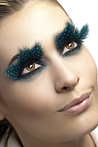 Smiffy's Fever Women's Eyelashes  Large Black Feather with Aqua Dots  Contains Glue  One Size  24234 -
