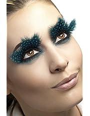 Smiffys Fever valse wimpers voor dames, met gestippelde veren, lijm inbegrepen, één maat, zwart-blauw, 24234