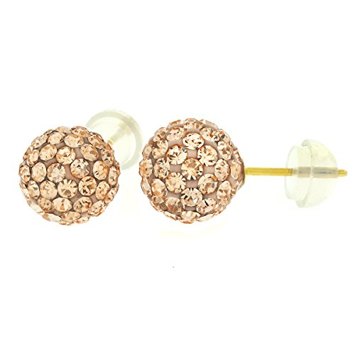 14k Yellow Gold Christmas 8mm Disco Ball Stud Earrings with Crystals (Peach)